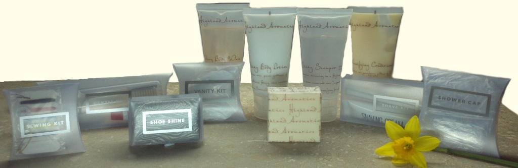Highland Hotel Guest Supplies miniature toiletries and single use travel size disposables